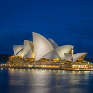 View of the Sydney Opera House from the Cahill Walkway after sunset.
