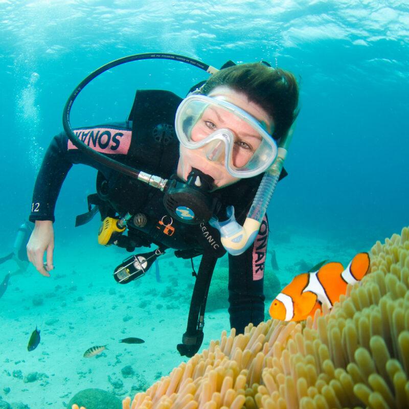 Diver with Nemo