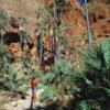 Hiker walking through Echidna Chasm