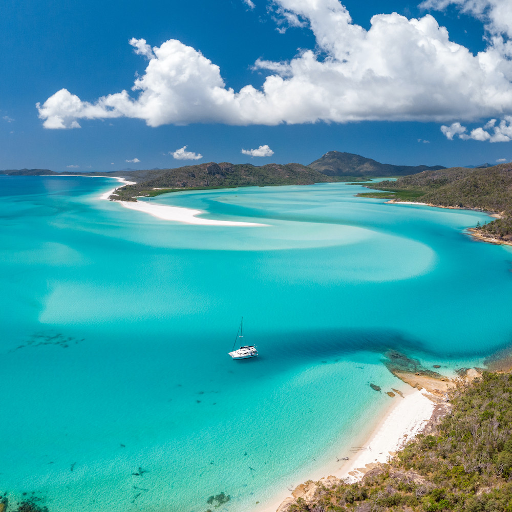 Aerial view looking towards Whitehaven Beach