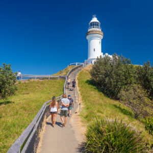 PEOPLE AT BYRON BAY LIGHTHOUSE
